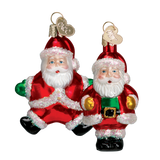 Blown Glass Hanging Miniature Santa Christmas Decorations Set of 2 - Schmidt Christmas Market Christmas Decoration