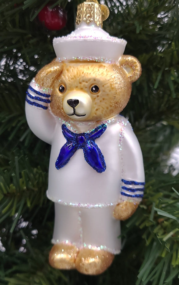 Blown Glass Hanging Navy Bear Christmas Ornament - Schmidt Christmas Market Christmas Decoration