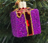 Blown Glass Hanging Purple Gift Box with Red Ribbon Christmas Ornament - Schmidt Christmas Market Christmas Decoration