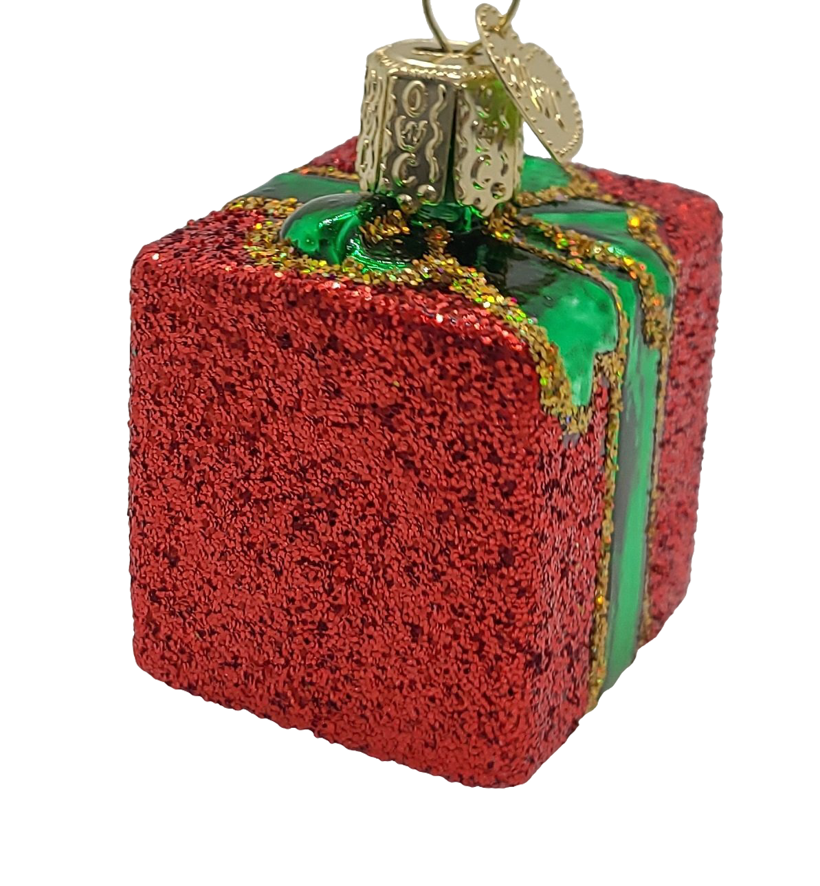 Blown Glass Hanging Red Gift Box with Green Ribbon Christmas Ornament - Schmidt Christmas Market Christmas Decoration
