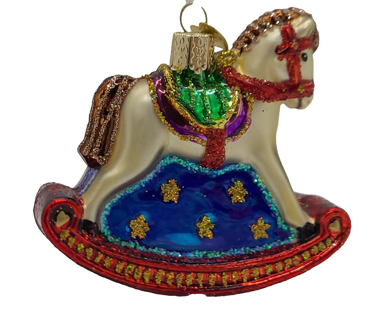 Blown Glass Hanging Rocking Horse Christmas Ornament - Schmidt Christmas Market Christmas Decoration