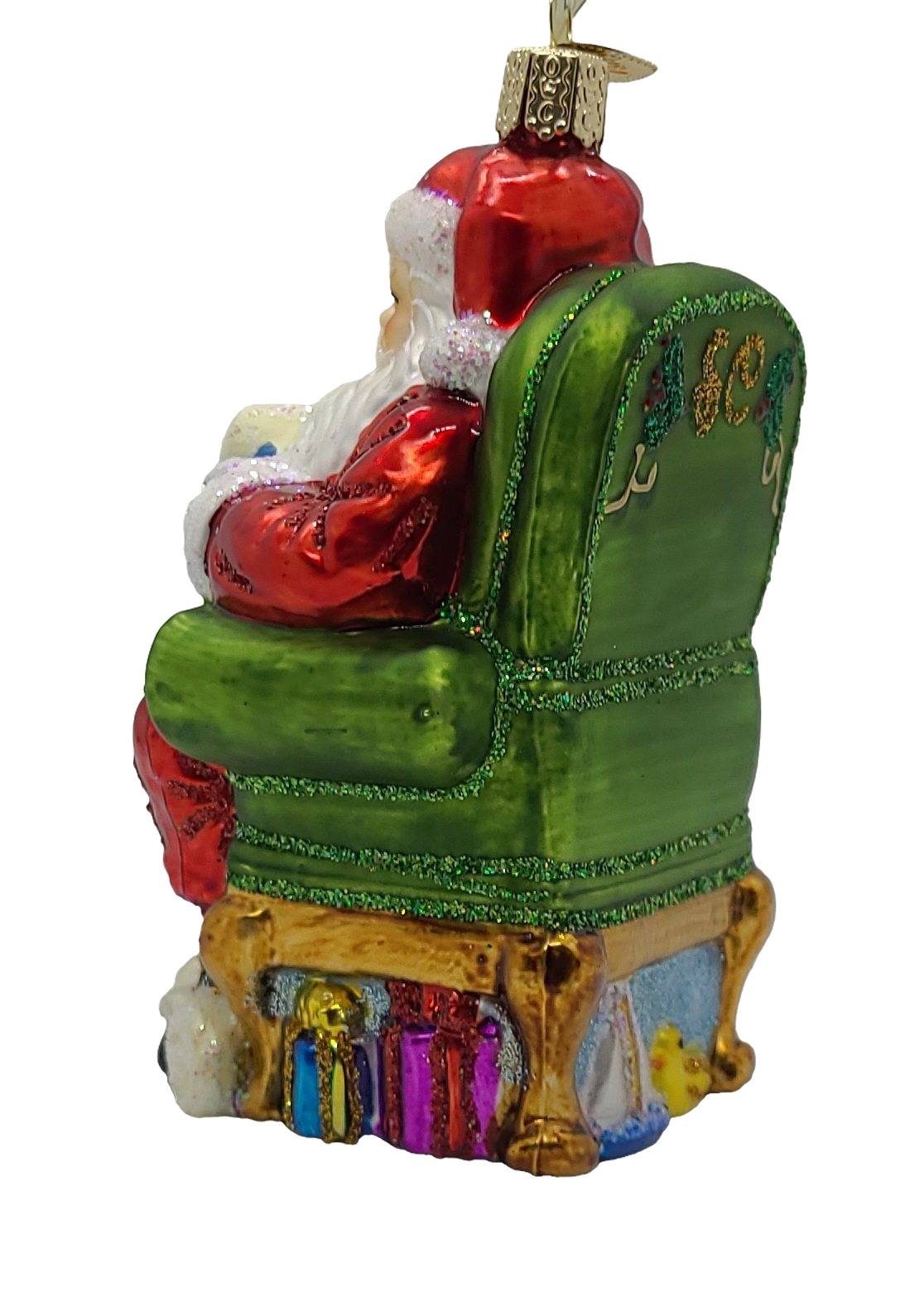 Blown Glass Hanging Santa Checking His List Christmas Ornament - Schmidt Christmas Market Christmas Decoration