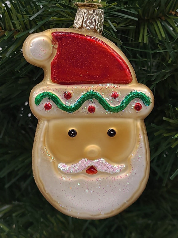 Blown Glass Hanging Santa Sugar Cookie Christmas Ornament - Schmidt Christmas Market Christmas Decoration
