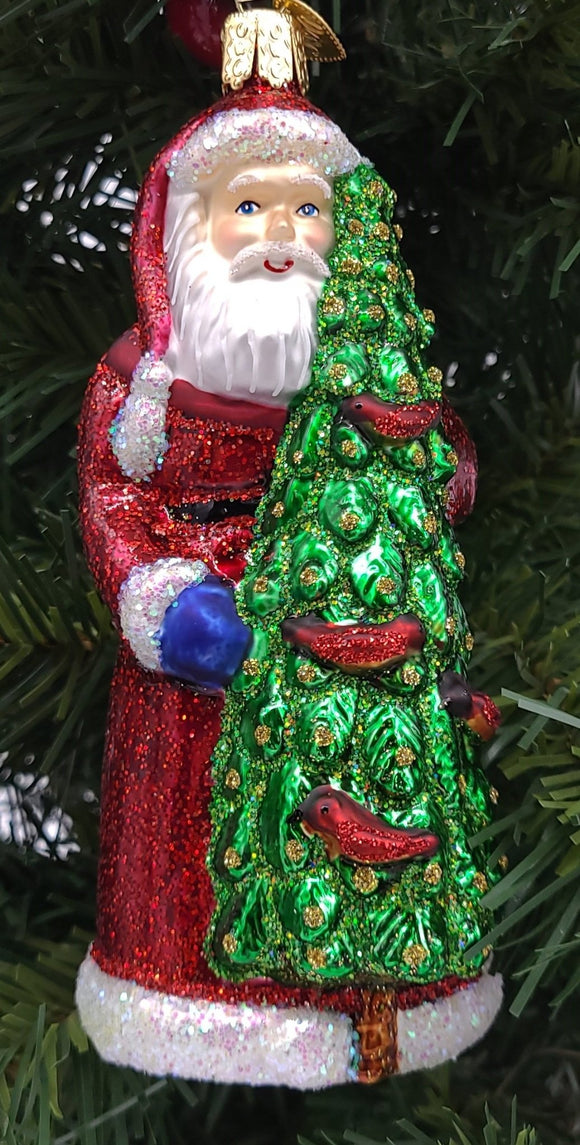 Blown Glass Hanging Santa With Calling Birds Christmas Ornament - Schmidt Christmas Market Christmas Decoration
