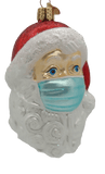 Blown Glass Hanging Santa With Face Mask Christmas Ornament - Schmidt Christmas Market Christmas Decoration