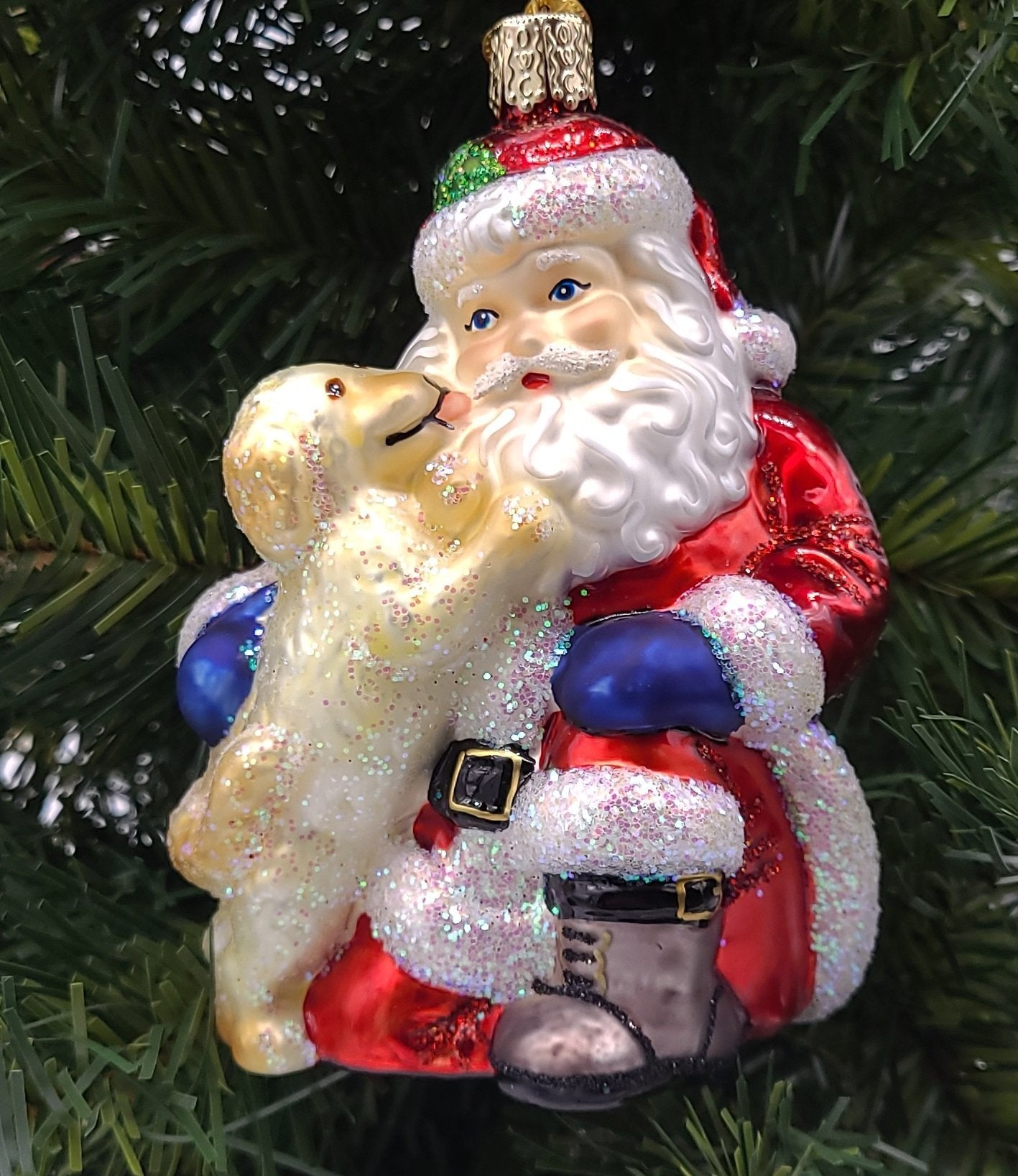 Blown Glass Hanging Santa's Puppy Love Christmas Ornament - Schmidt Christmas Market Christmas Decoration
