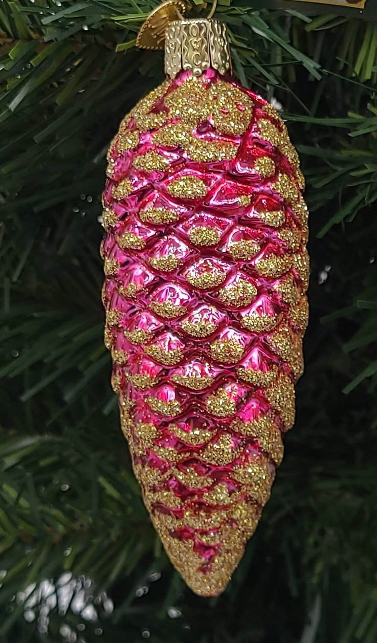Blown Glass Hanging Shimmering Pink Pinecone Christmas Ornament - Schmidt Christmas Market Christmas Decoration