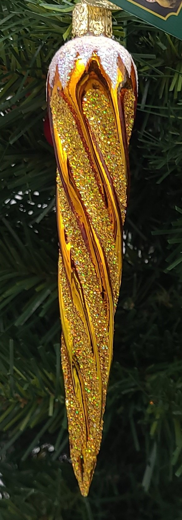 Blown Glass Hanging Shimmering Yellow Icicle Christmas Ornament - Schmidt Christmas Market Christmas Decoration