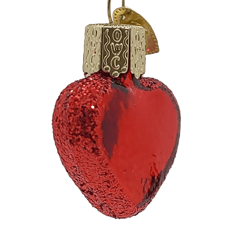 Blown Glass Hanging Shiny Small Red Heart Christmas Ornament - Schmidt Christmas Market Christmas Decoration
