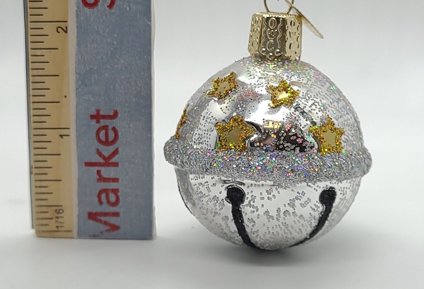 Blown Glass Hanging Silver Jingle Bell Christmas Ornament - Schmidt Christmas Market Christmas Decoration