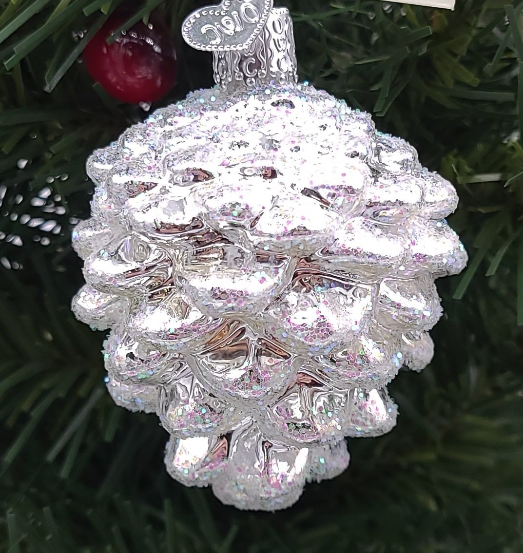 Blown Glass Hanging Silver Snowy Pine cone Christmas Ornament - Schmidt Christmas Market Christmas Decoration