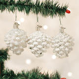 Blown Glass Hanging Silver Snowy Pine cone Christmas Ornament Set of 3 - Schmidt Christmas Market Christmas Decoration