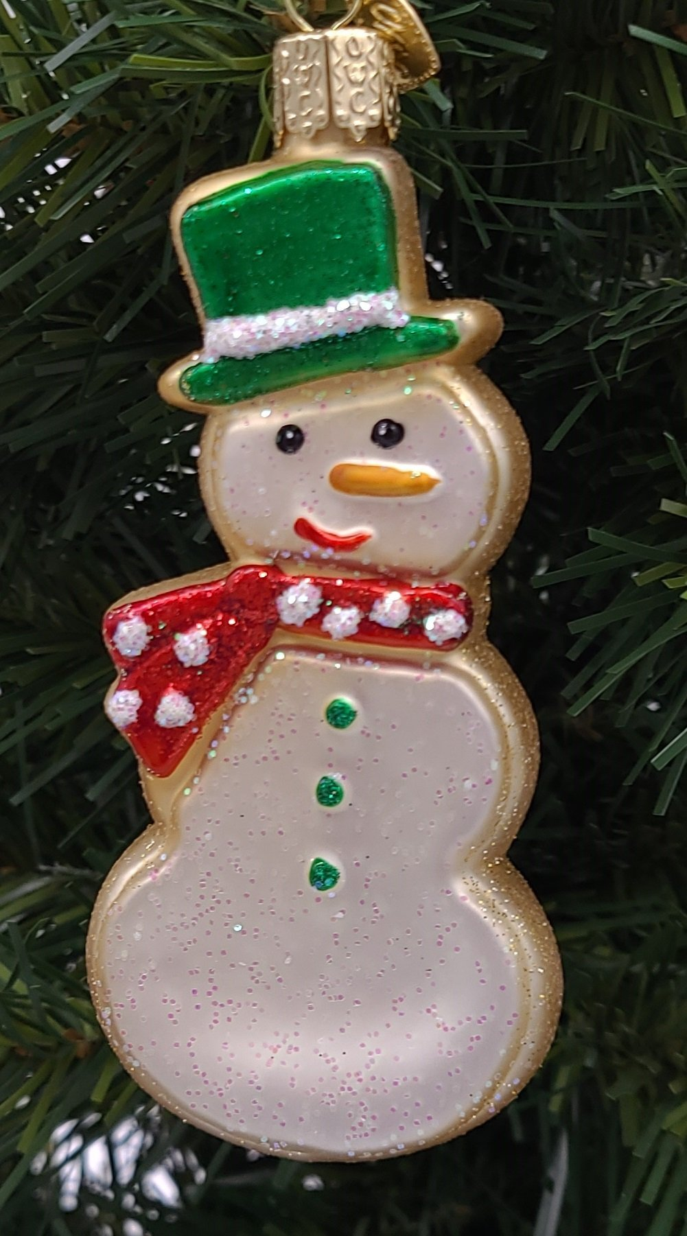 Blown Glass Hanging Snowman Sugar Cookie Christmas Ornament - Schmidt Christmas Market Christmas Decoration
