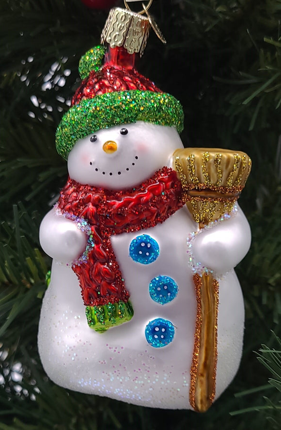 Blown Glass Hanging Snowman With Broom Christmas Ornament - Schmidt Christmas Market Christmas Decoration