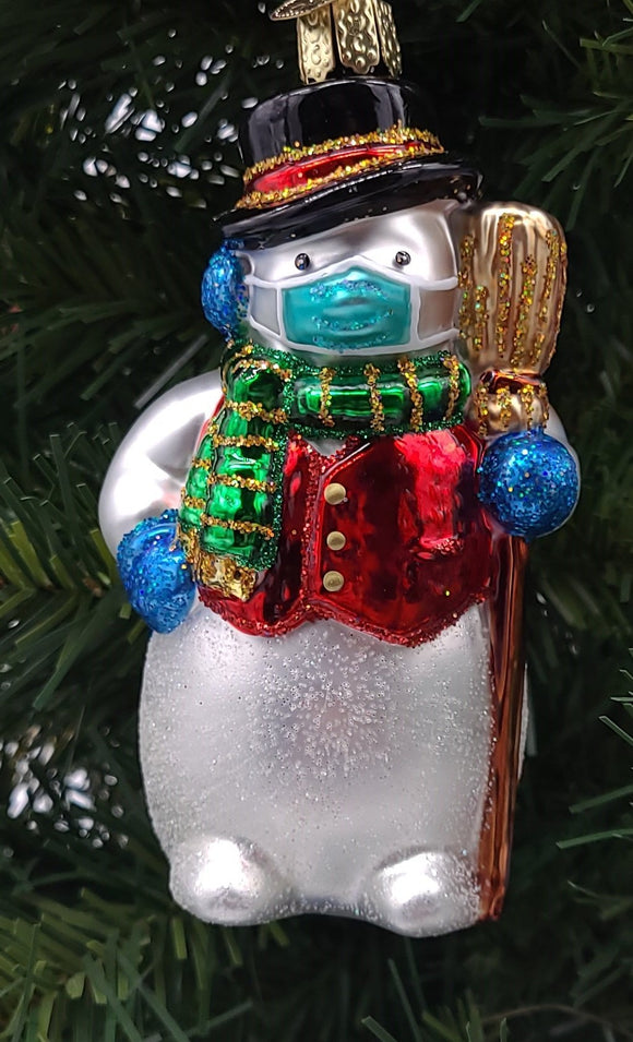 Blown Glass Hanging Snowman With Face Mask Christmas Ornament - Schmidt Christmas Market Christmas Decoration