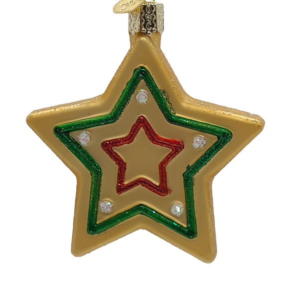 Blown Glass Hanging Star Sugar Cookie Christmas Ornament - Schmidt Christmas Market Christmas Decoration