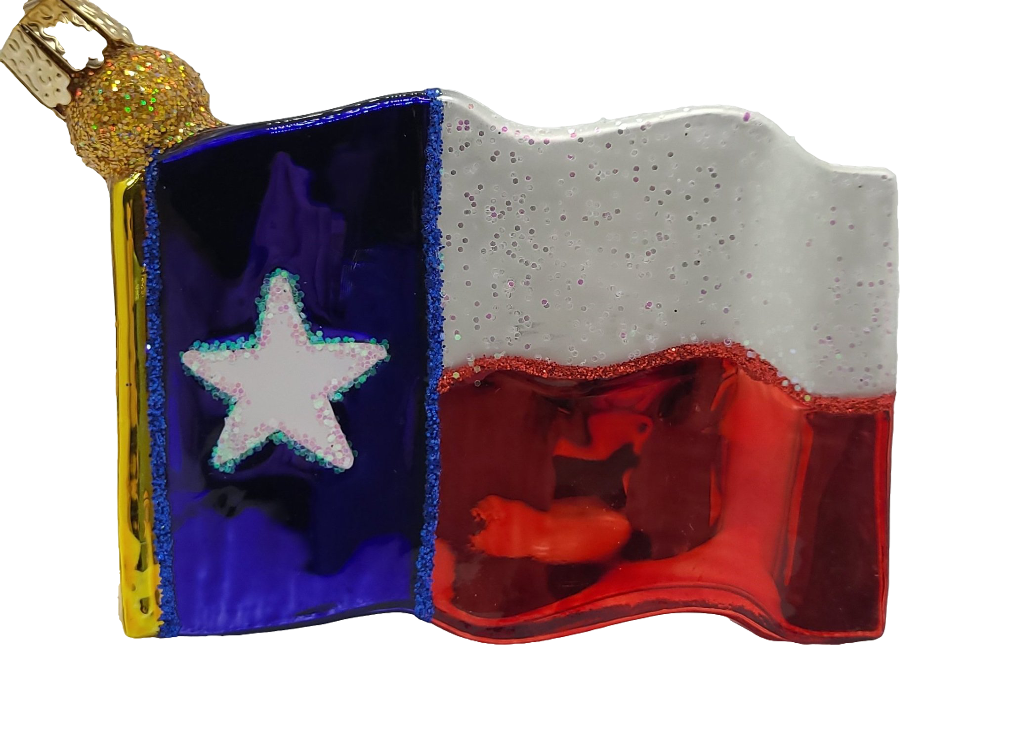 Blown Glass Hanging Texas Flag Christmas Ornament - Schmidt Christmas Market Christmas Decoration