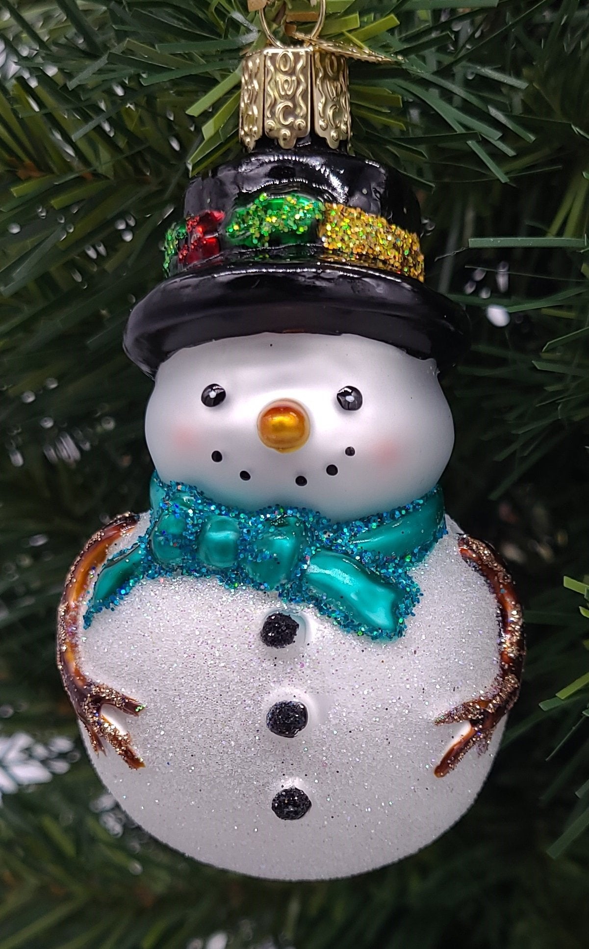 Blown Glass Holly Hat Snowman with Green Scarf Christmas Ornament - Schmidt Christmas Market Christmas Decoration