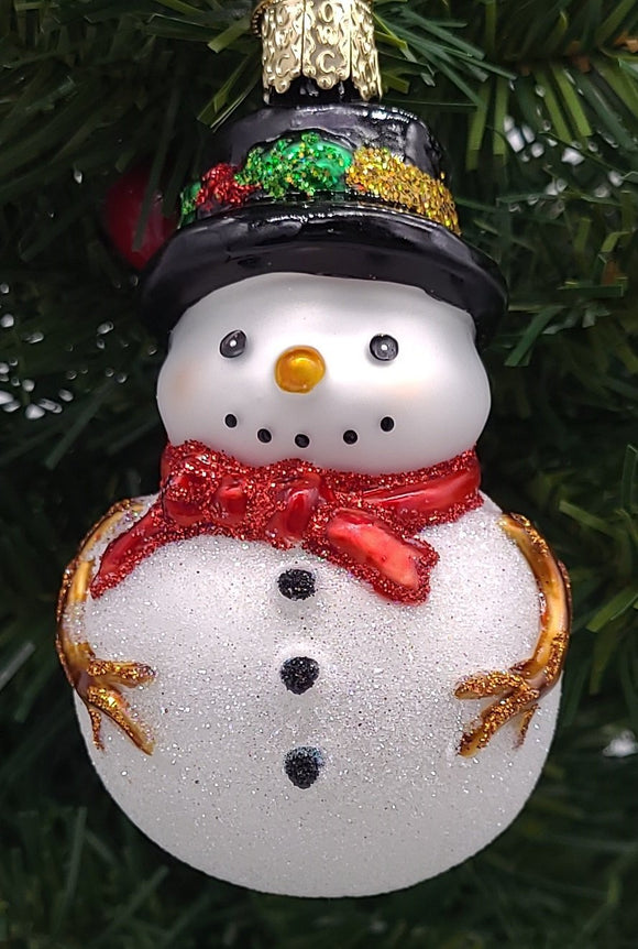 Blown Glass Holly Hat Snowman with Red Sarf Christmas Ornament - Schmidt Christmas Market Christmas Decoration