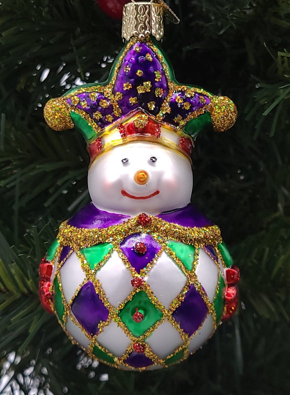 Blown Glass Mardi Gras Snowman Ornament - Schmidt Christmas Market Christmas Decoration