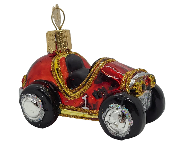 Blown Glass Mini Race Car Hanging Christmas Ornament - Schmidt Christmas Market Christmas Decoration
