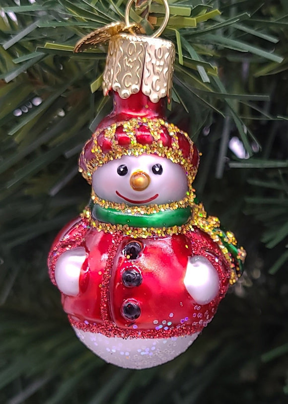 Blown Glass Mini Red Jacket Snowman Hanging Christmas Ornament - Schmidt Christmas Market Christmas Decoration