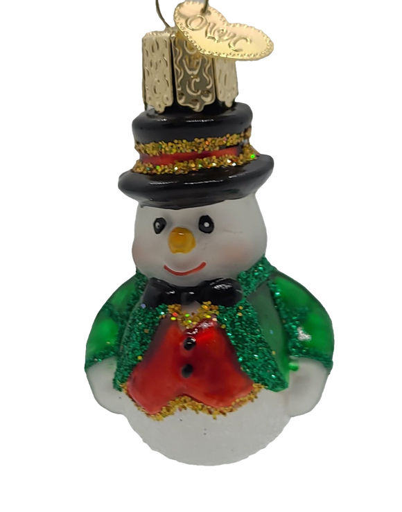 Blown Glass Mini Red Vest Snowman Hanging Christmas Ornament - Schmidt Christmas Market Christmas Decoration