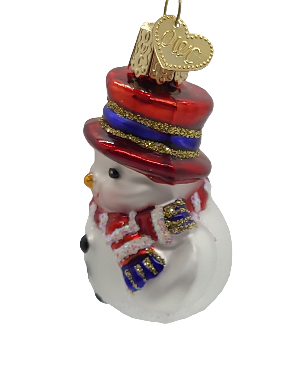 Blown Glass Mini Red White and Blue Snowman Hanging Christmas Ornament - Schmidt Christmas Market Christmas Decoration