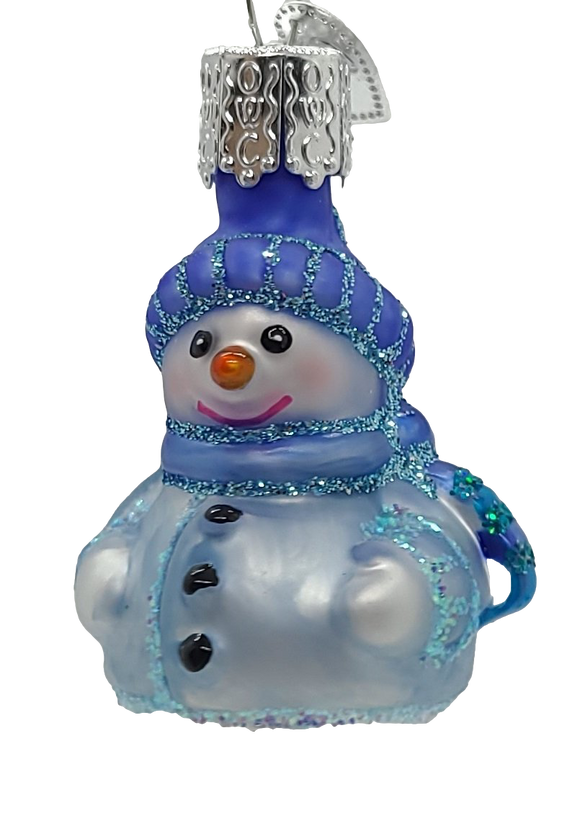 Blown Glass Mini Snowman Blue Jacket Hanging Christmas Ornament - Schmidt Christmas Market Christmas Decoration