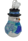 Blown Glass Mini Snowman Blue Vest Hanging Christmas Ornament - Schmidt Christmas Market Christmas Decoration