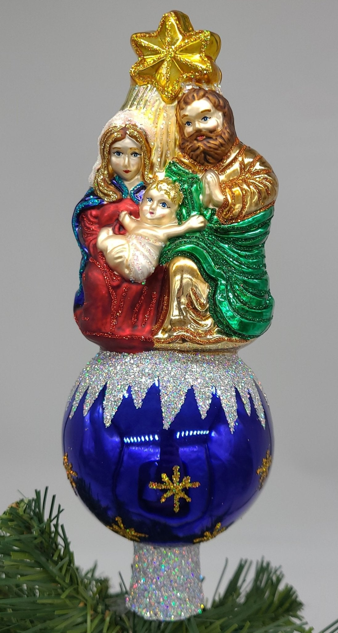 Blown Glass Nativity Tree Topper Christmas Ornament - Schmidt Christmas Market Christmas Decoration