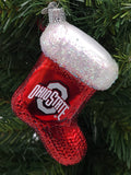 Blown Glass Ohio State Stocking Ornament - Schmidt Christmas Market Christmas Decoration
