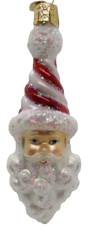 Blown Glass Peppermint Twist Santa Christmas Ornament - Schmidt Christmas Market Dekorasyon ng Pasko