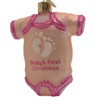 Blown Glass Pink Baby Onesie Baby's First Christmas Ornament - Schmidt Christmas Market Dekorasyon ng Pasko