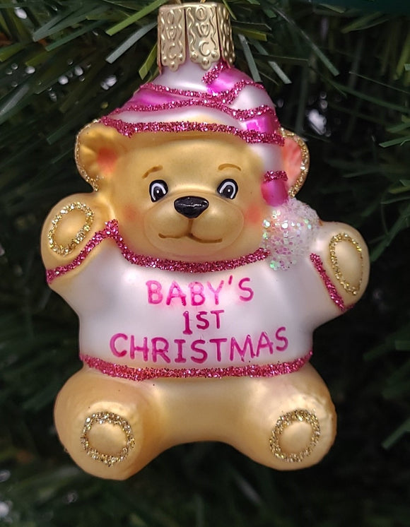 Blown Glass Pink Baby's First Teddy Bear Christmas Ornament - Schmidt Christmas Market Christmas Decoration