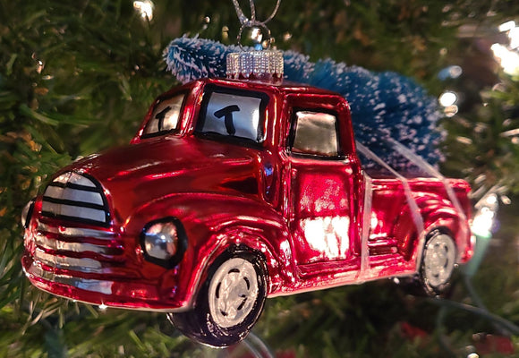 Blown Glass Red Truck Carrying a Christmas Tree Ornament - Schmidt Christmas Market Christmas Decoration