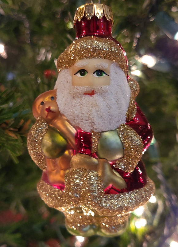 Blown Glass Santa Clause and dog - Schmidt Christmas Market Christmas Decoration