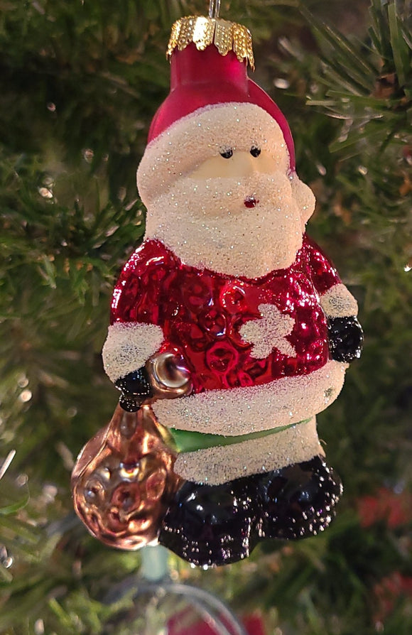 Blown Glass Santa Clause with snowflake - Schmidt Christmas Market Christmas Decoration