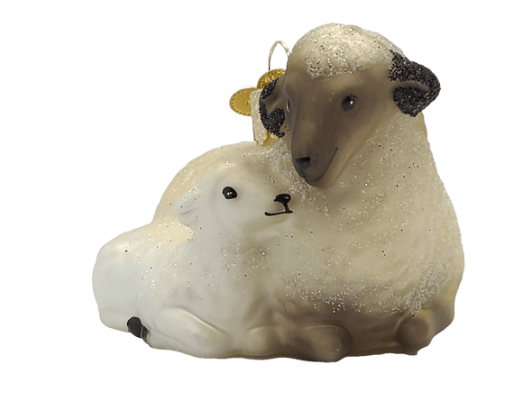 Blown Glass Sheep With Lamb Ornament - Schmidt Christmas Market Christmas Decoration