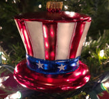 Blown Glass Uncle Sam's Hat - Schmidt Christmas Market Christmas Decoration