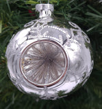 Bright Silver Round Reflector with Silver swirls and Dots with silver Crown Caps Ornament - Schmidt Christmas Market Christmas Decoration