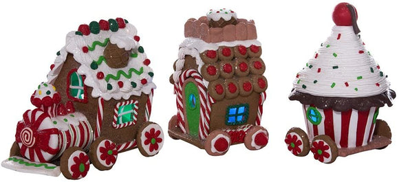 Claydough Lighted LED Gingerbread Train, 3 Piece Set - Schmidt Christmas Market Christmas Decoration