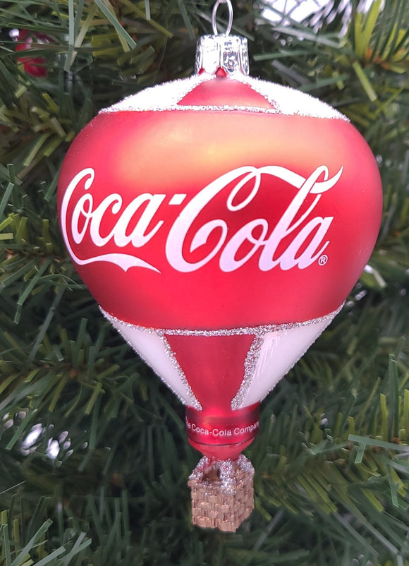 Coca-Cola® Glass Hot Air Balloon with Santa Ornament - Schmidt Christmas Market Christmas Decoration
