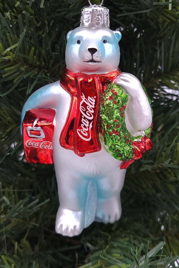 Coca-Cola® Polar Bear With Wreath and Cooler Glass Ornament - Schmidt Christmas Market Christmas Decoration