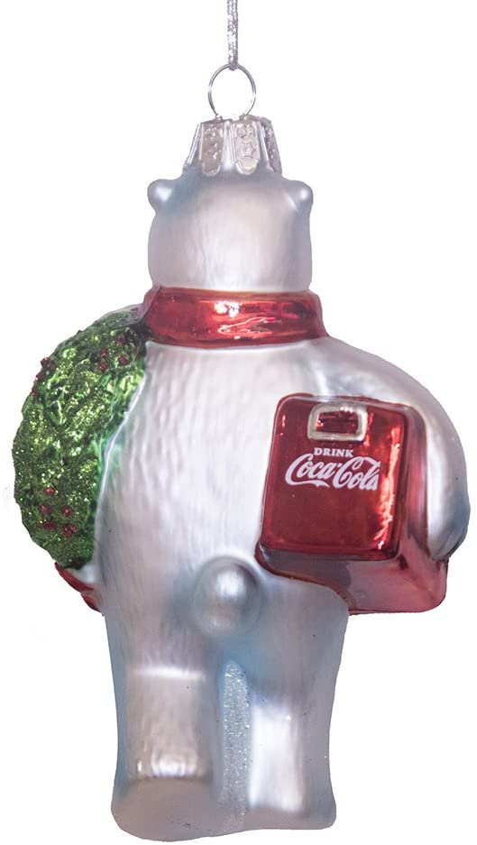 Coca-Cola® Polar Bear Na May Wreath at Cooler Glass Ornament - Schmidt Christmas Market Christmas Dekorasi