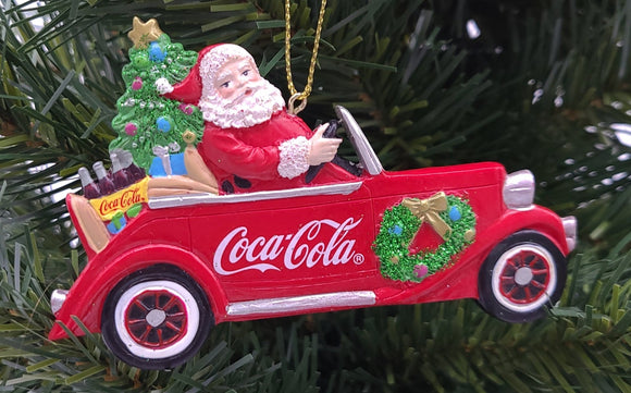 Coca-Cola® Santa Driving Car Ornament - Schmidt Christmas Market Christmas Decoration