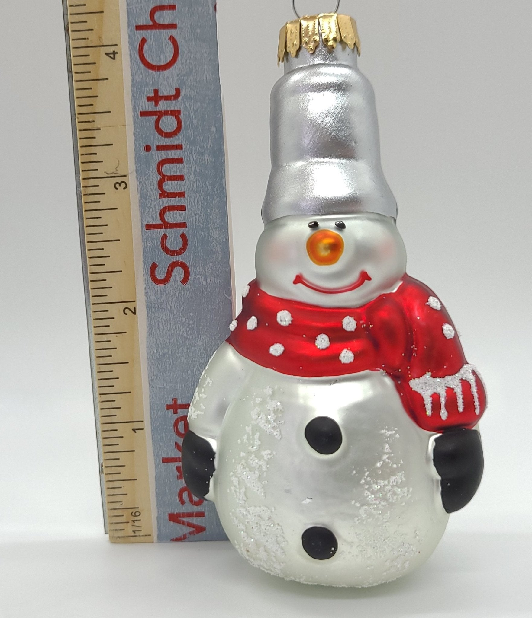 Conehead Snowman Glass Ornament - Schmidt Christmas Market Christmas Decoration
