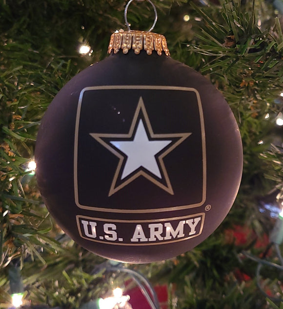 "Ebony Velvet 3 1/4"" Ball with US Army Logo and Hymn - Schmidt Christmas Market Christmas Decoration"