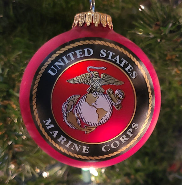 "Flame Red 3 1/4"" Ball with US Marine Corps Logo and Hymn - Schmidt Christmas Market Christmas Decoration"