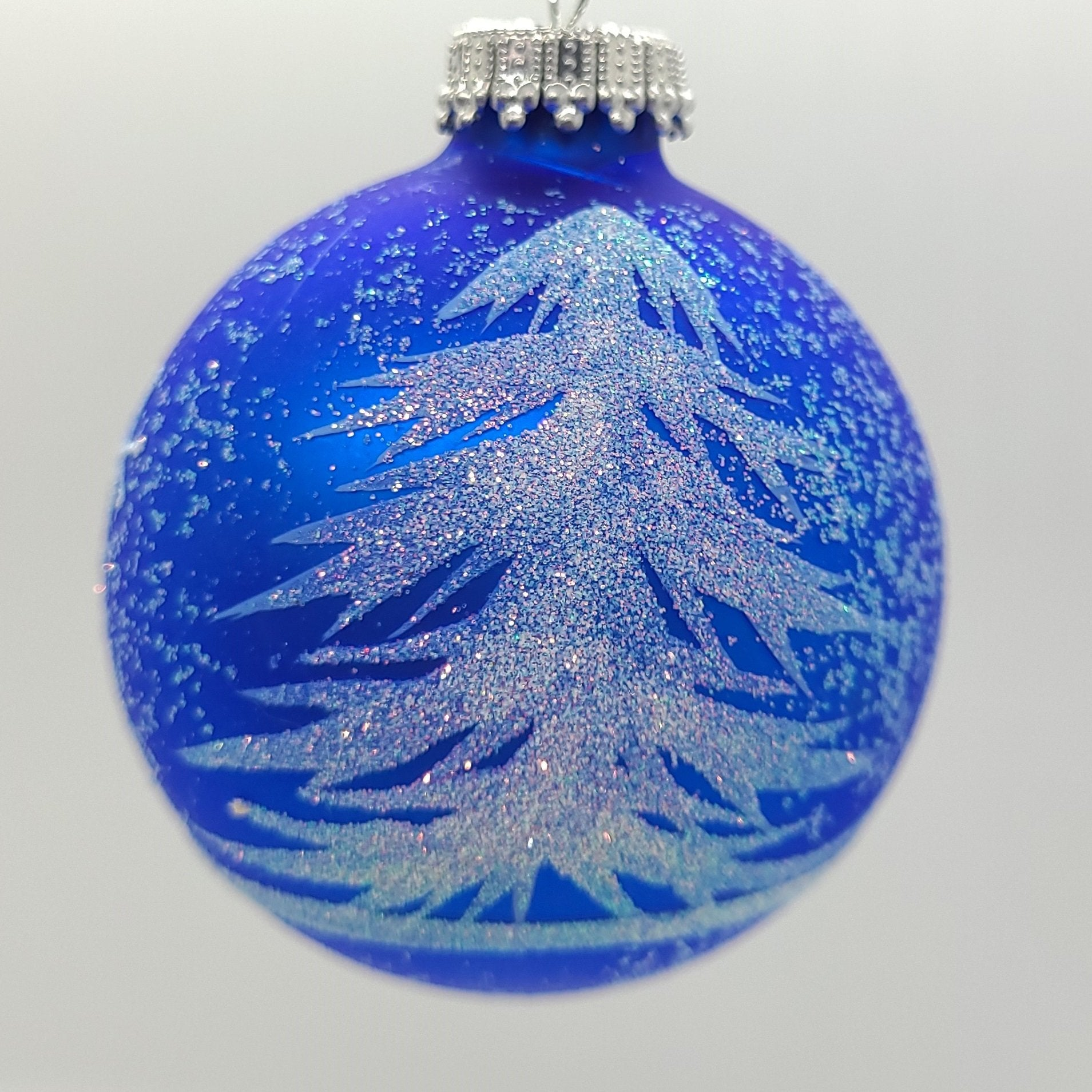 "Frosted Blue Glass 3 ""Bauble Ornament - Schmidt Kersmark Kersversiering"